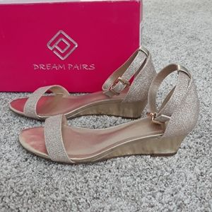 Gold low wedge sandals
